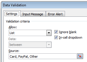 Data Validation Criteria for our form