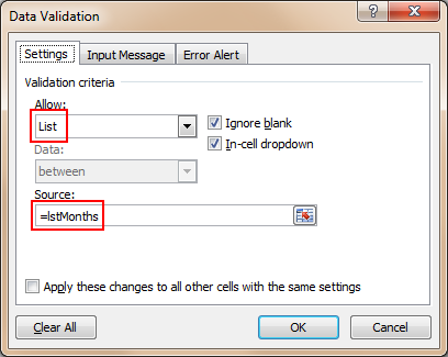 Excel Data Validation Drop Down List - Example