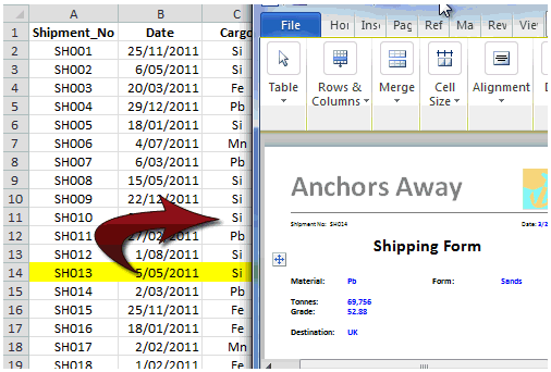 Printing Excel Reports via a Word Document