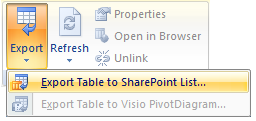 Export Tables To Sharepoint Excel 2007 Tables