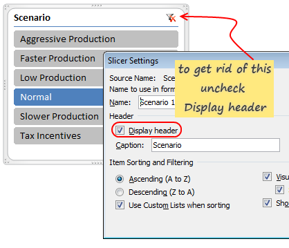 Disabling Slicer Heading and Clear Filter Button