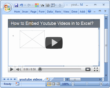 How to Embed Youtube videos in to Excel Workbooks?