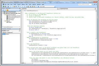 How to write code in VBA