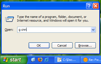 how to use windows xp run dialog as search box