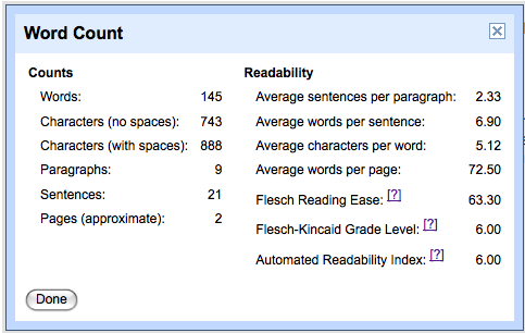 google-docs-readability-word-statistics