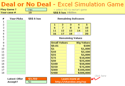 Simulation of Deal or No Deal game in Excel