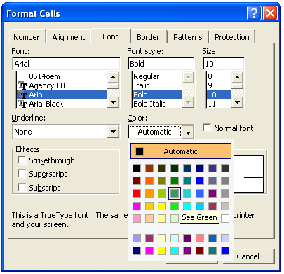Custom Number Formats – Colors