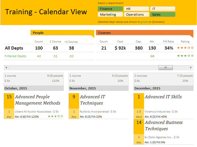 Training calendar & dashboard in Excel