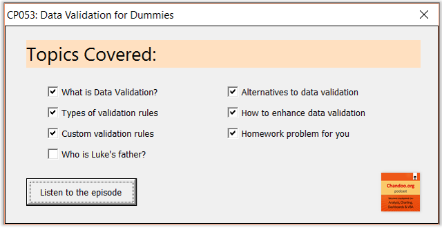 CP053: Excel Data Validation for Dummies