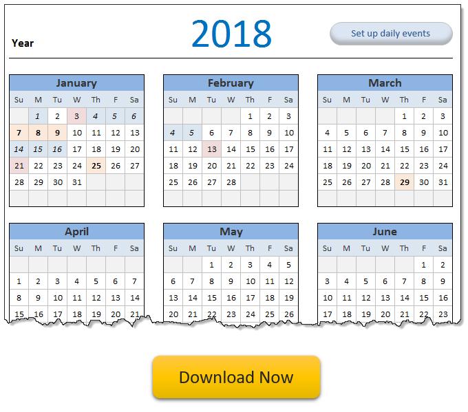 2018 calendar & daily planner template