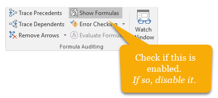 Excel formula showing as text instead of actual result – How to fix the problem