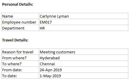 personal details & travel details - sample data