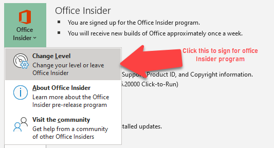 Join office insider program from your Office 365 account options in Excel > File > Account page.