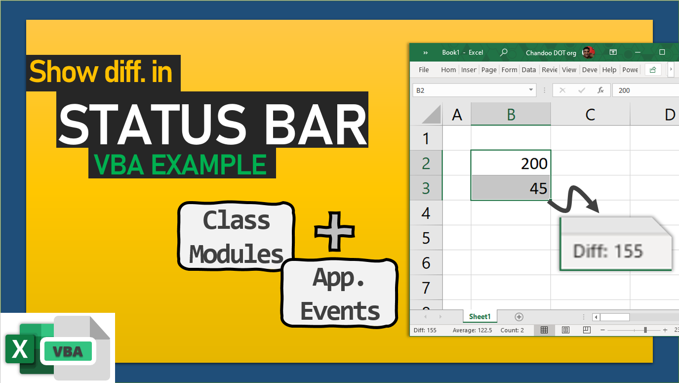 Show difference between cells in status bar – VBA Example