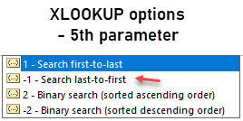 XLOOKUP 5th parameter - lookup direction