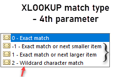 xlookup 4th parameter - match mode or type